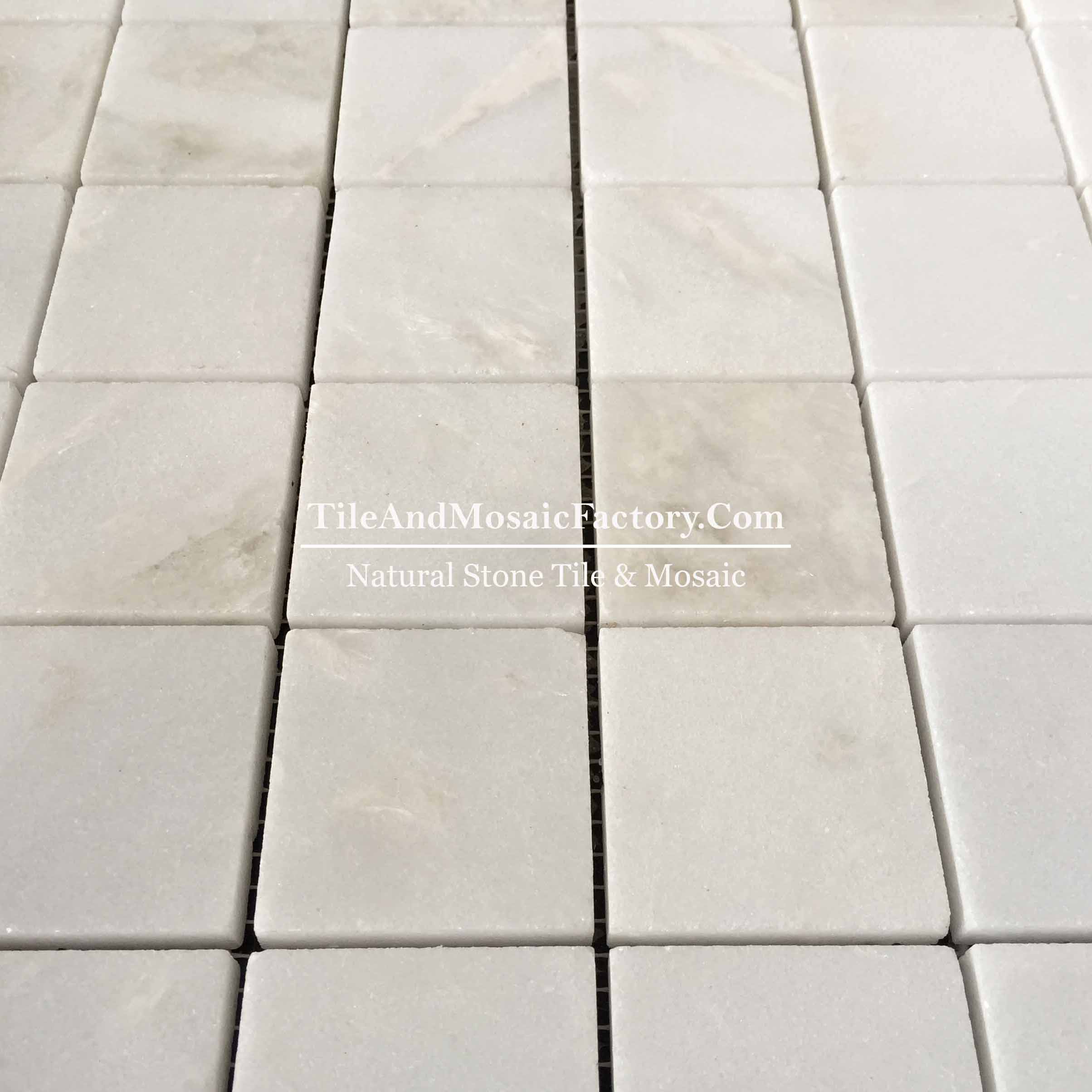 "Rhino White Square 2x2"" polished White color Marble Mosaic"