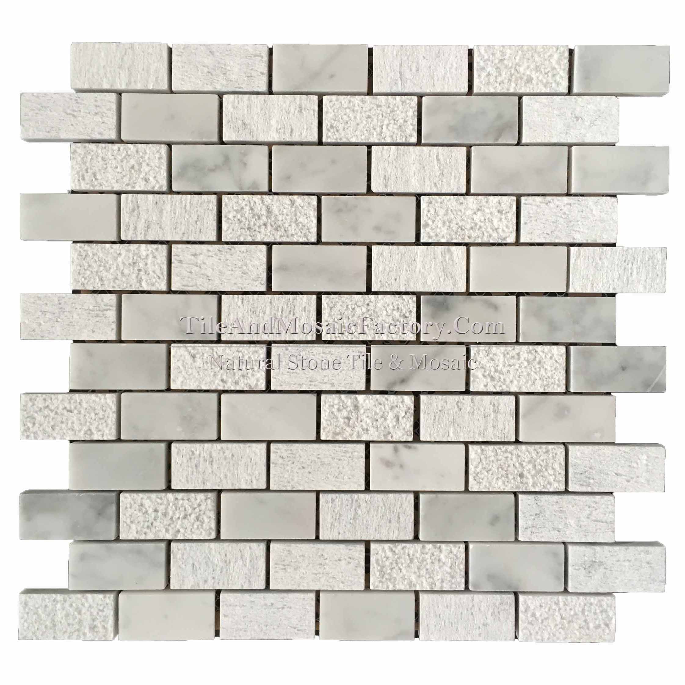 "Bianco Carrara  Brick 1x2""   Multi finish White color Marble Mosaic"