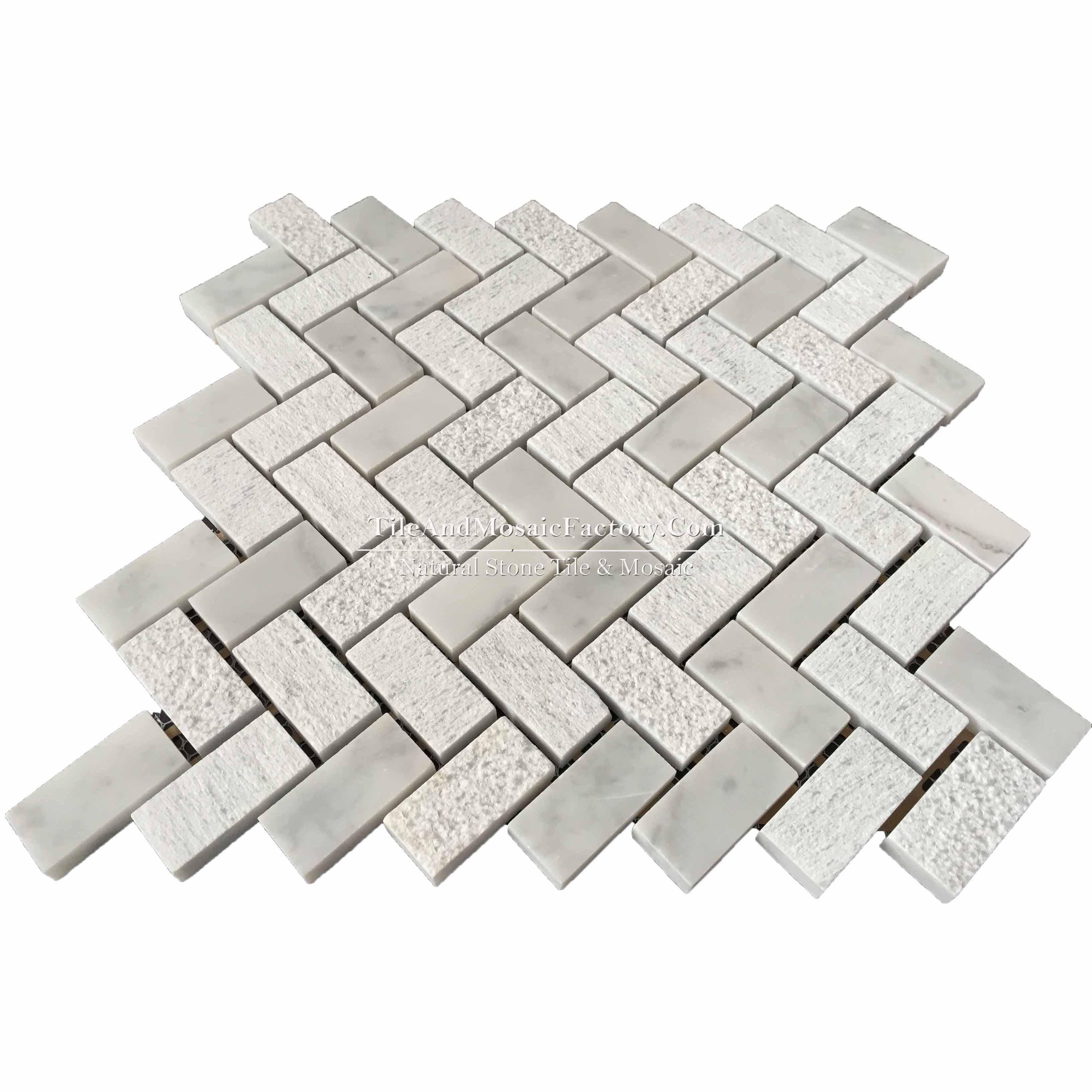 "Bianco Carrara  Herringbone 1x2"" Multi finish White color Marble Mosaic"