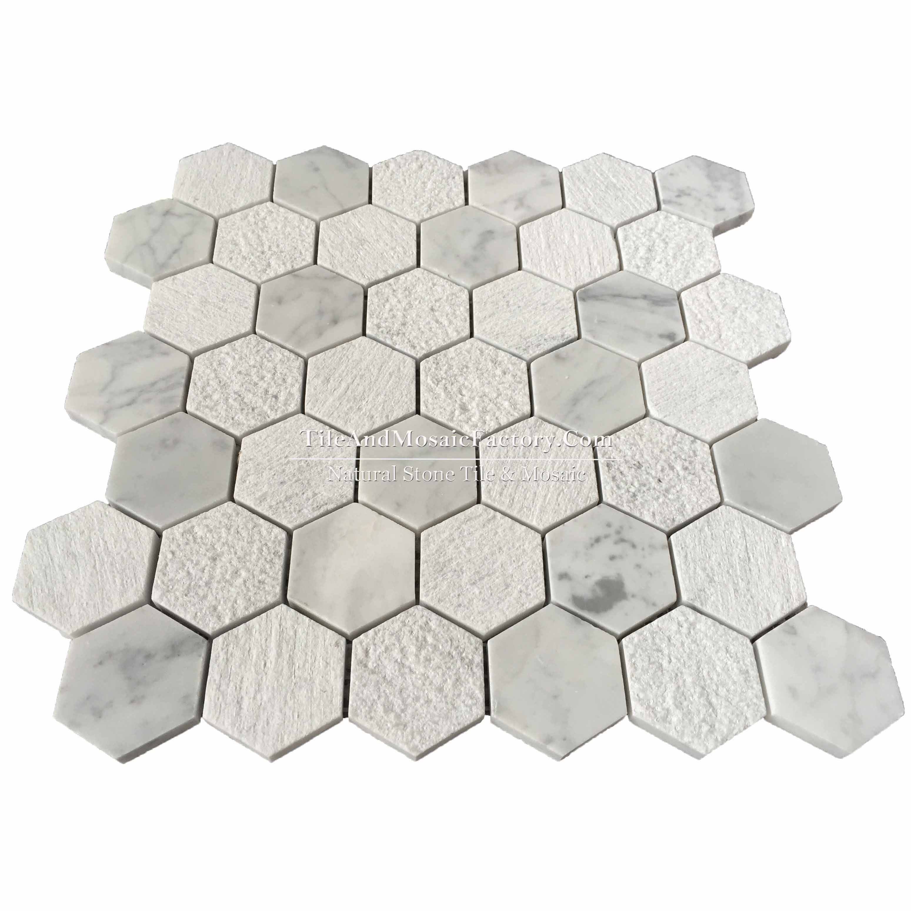 "Bianco Carrara  Hexagon 2"" Multi finish White color Marble Mosaic"
