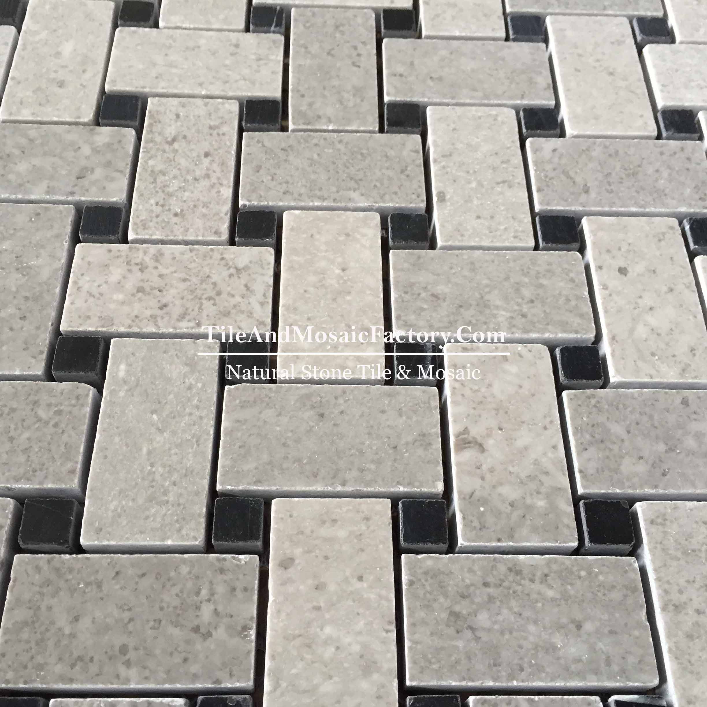 Starlight  Basketweave W/Black Dots  polished Grey color Limestone Mosaic
