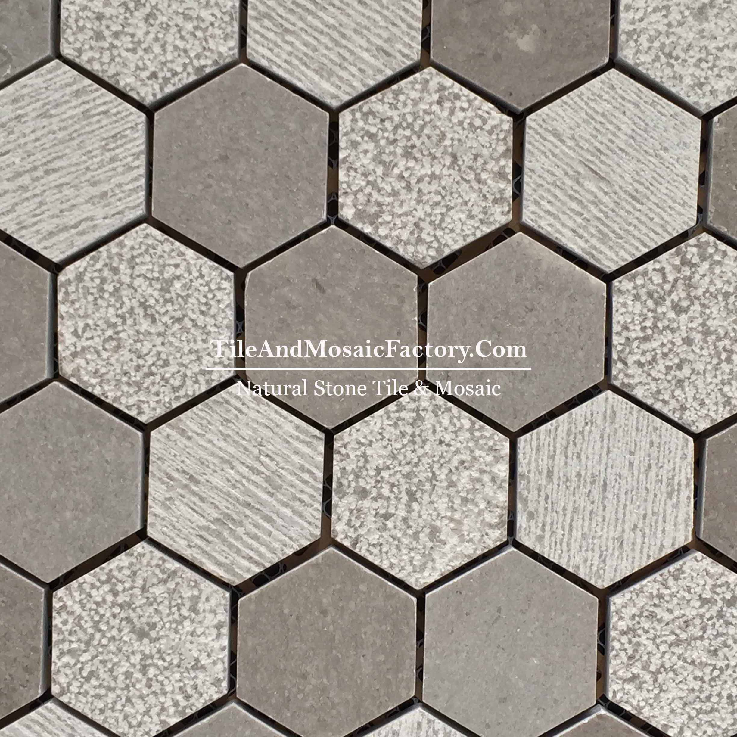 "Starlight Hexagon 2x2"" Multi finish Grey color Limestone Mosaic"
