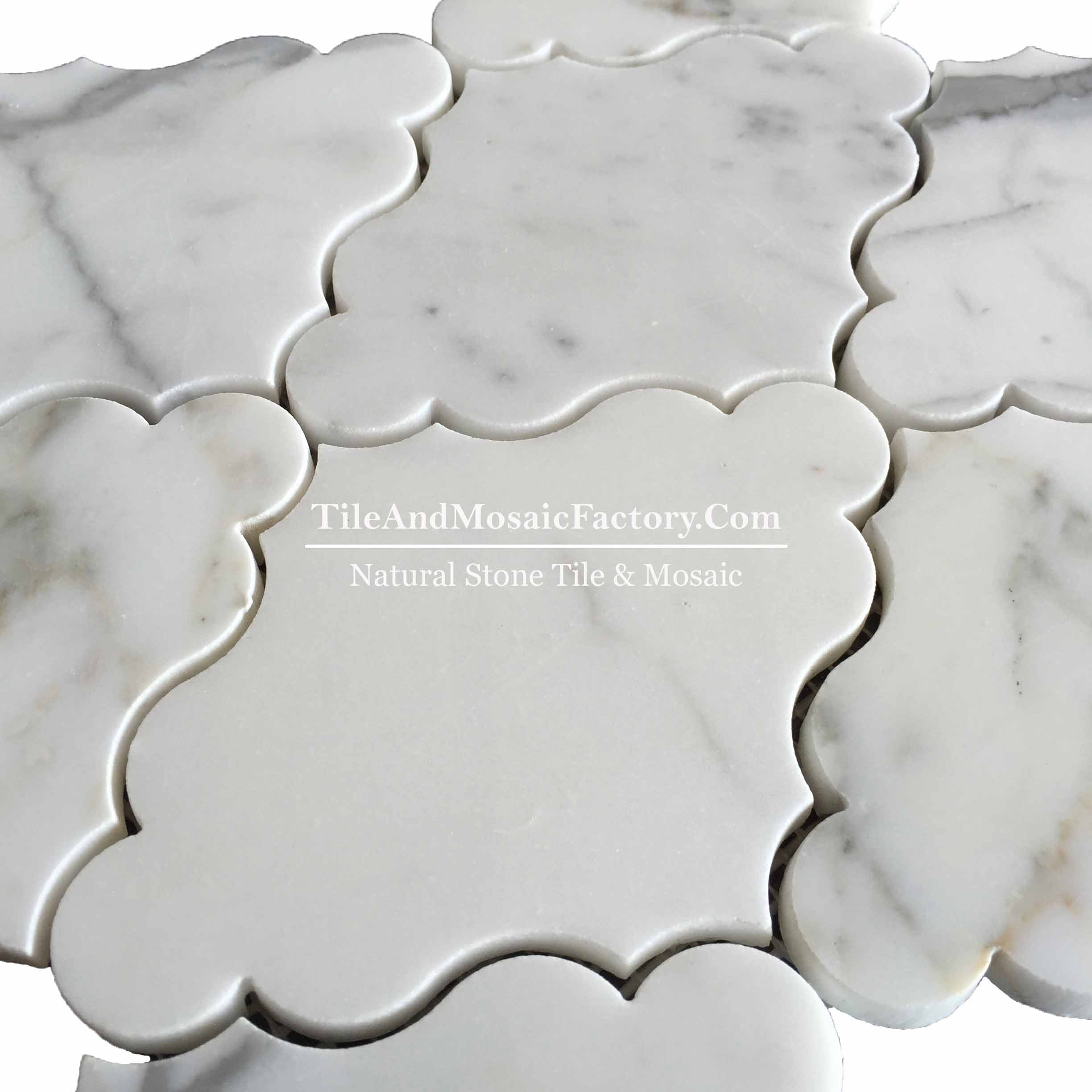 Waterjet White Calacatta Mosaic Multi Color