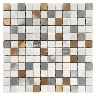 "Asian White & Gold Stainless Steel Square 1x1""  polished White color Marble Mosaic"