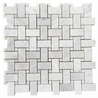 Bianco Carrara C Basketweave polished White color Marble Mosaic