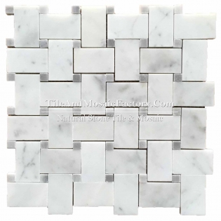 Bianco Carrara C  Basketweave  w/Blue Dots polished White color Marble Mosaic