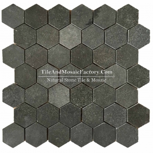 "Basalt  Hexagon 2"" polished Black color Marble Mosaic"