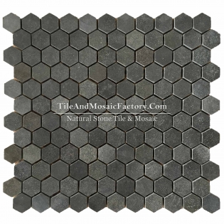 "Basalt  Hexagon 1"" polished Black color Marble Mosaic"