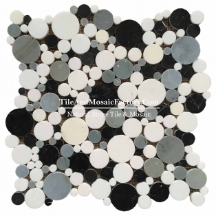 Round Polished Nero Marquina Marble Mosaic White & Back