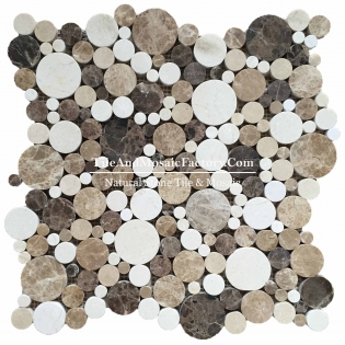 Light & Dark Emperador Mix Mosaic Round Polished Multi Color