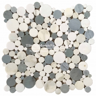 Calacatta Round Polished Ice Blue & White Mosaic