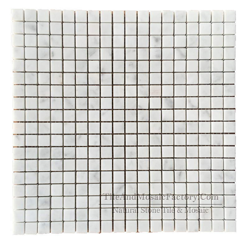 Bianco Carrara C Square 5/8x5/8″ Polished White Marble Mosaic