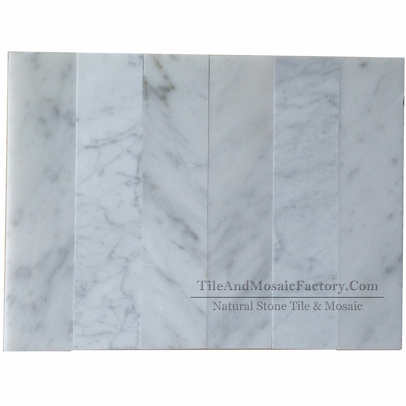 Bianco Carrara 2x9″ Polished White Marble Tile