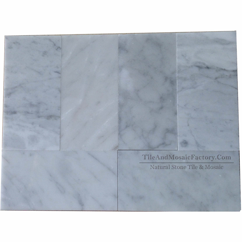 Bianco Carrara Polished White Marble Tile  3x6″