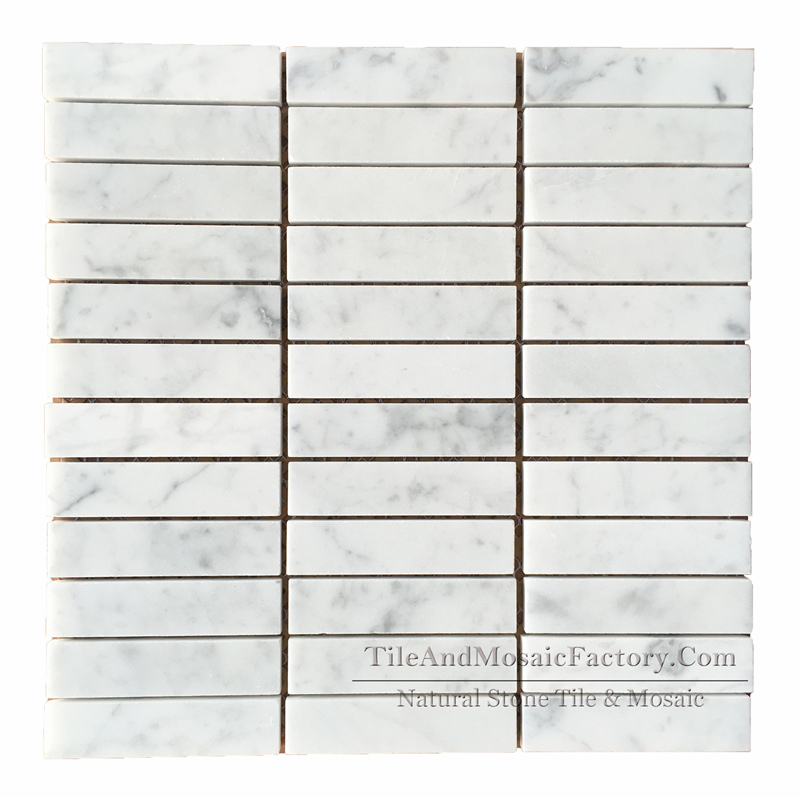 Bianco Carrara C Soldier Pattern Polished Marble Mosaic 1x4″