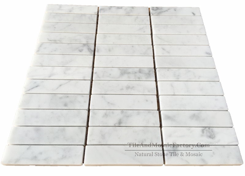 Bianco Carrara C Soldier Pattern 1x4″ Polished Marble Mosaic