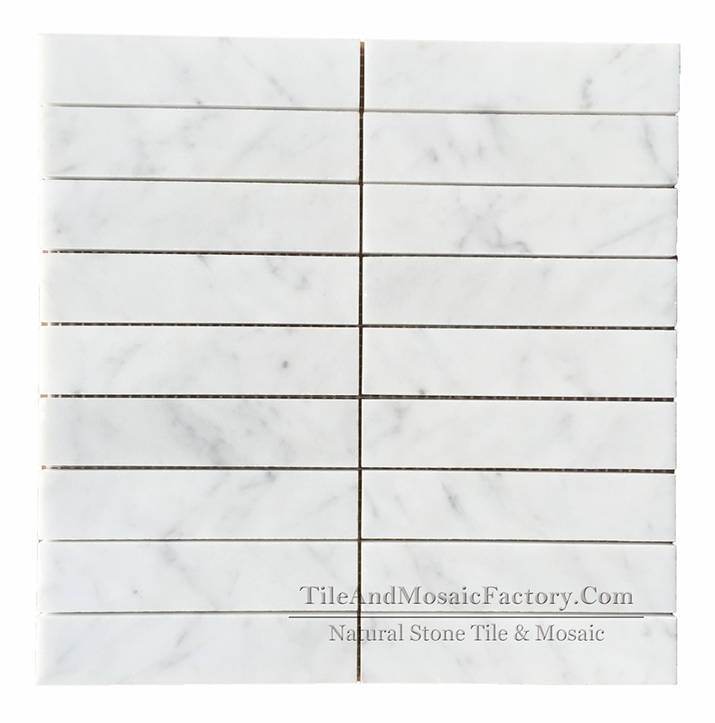 Bianco Carrara C Soldier Pattern Polished Marble Mosaic 1.5x6 ″