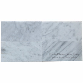 Bianco Carrara 3x6″ Polished White Marble Tile