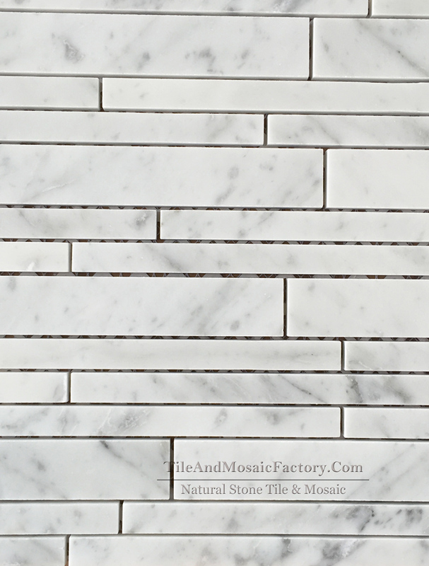 Bianco Carrara C Linear 20cm Polished Marble Mosaic