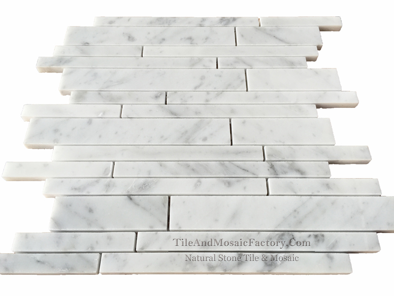Bianco Carrara C Linear Polished Marble Mosaic 20cm