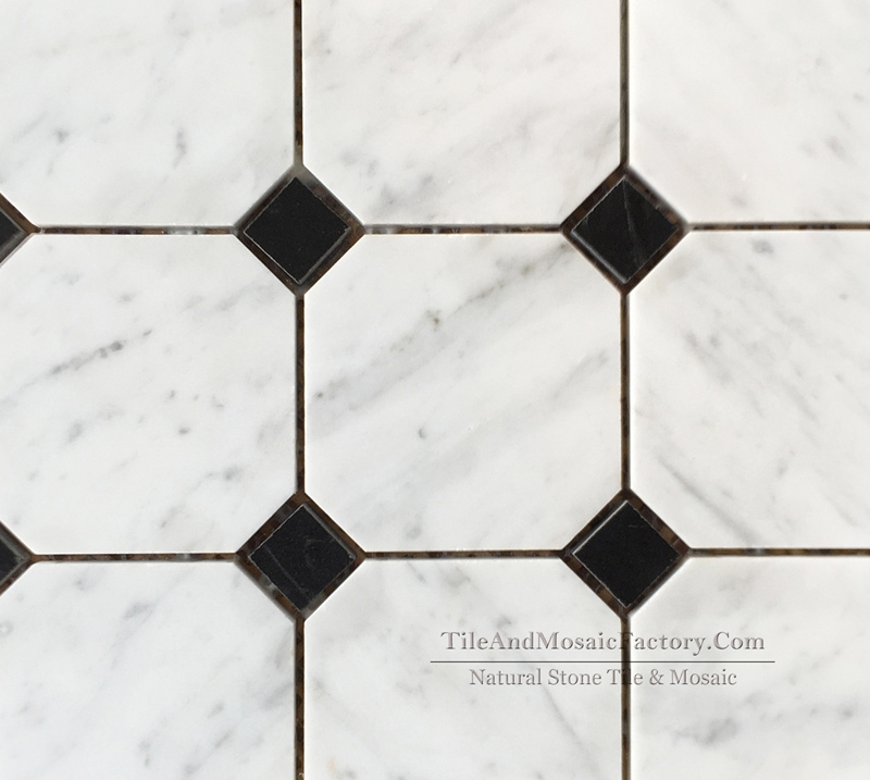 Bianco Carrara C Octagon 9.7cm Polished Marble Mosaic