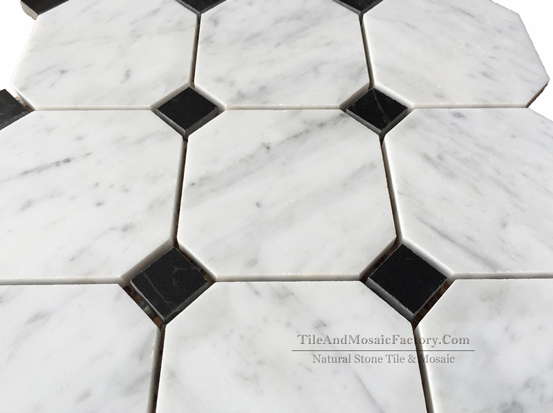 Bianco Carrara C Octagon Polished Marble Mosaic 9.7cm