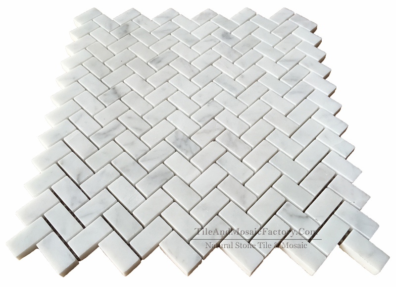 Bianco Carrara C Herringbone Polished Marble Mosaic 5/8x1″