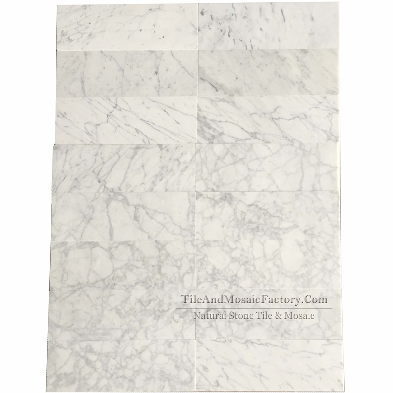 Bianco Carrara C 4x12″ Polished Marble Tile