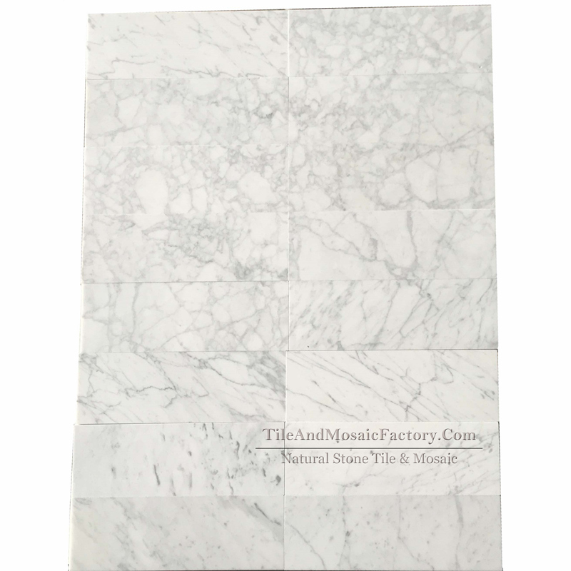 Bianco Carrara C Polished Marble Tile 4x12″