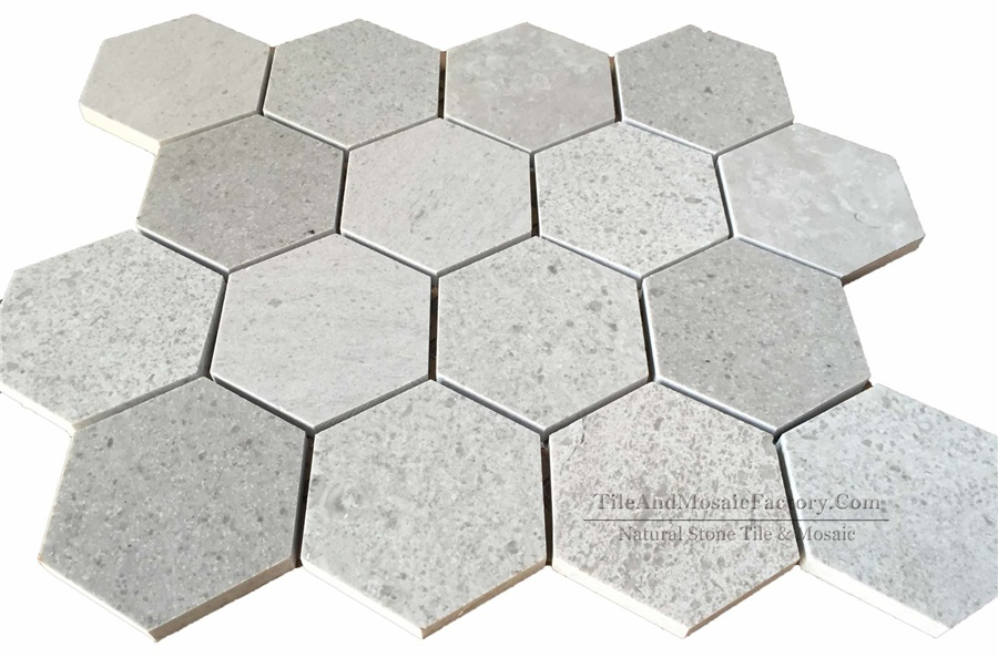 Starlight Hexagon 3″ Polished Grey Limestone Mosaic