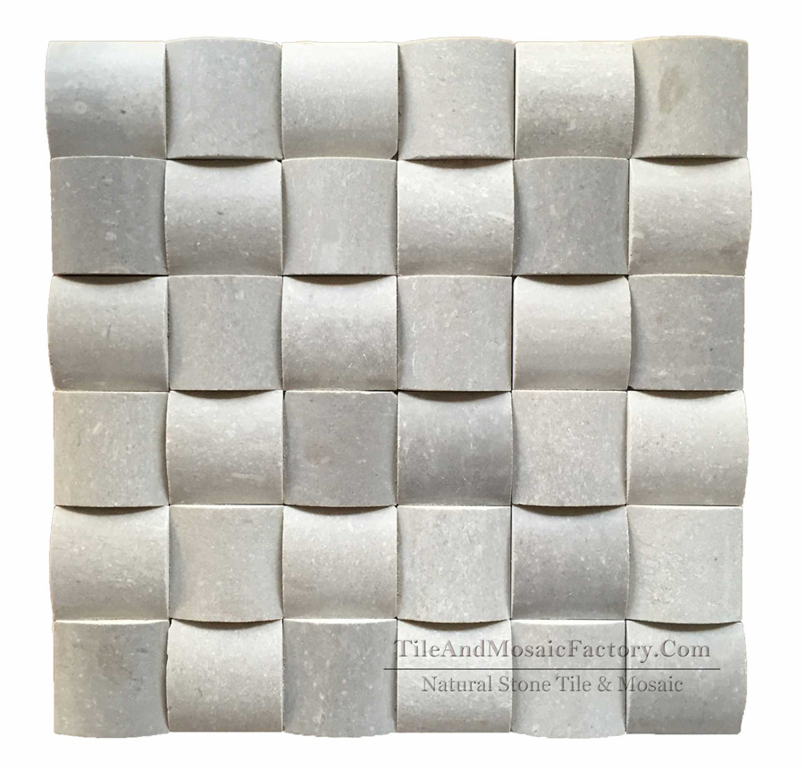 Starlight Square Pillowed polished Grey color Limestone Mosaic  2x2""