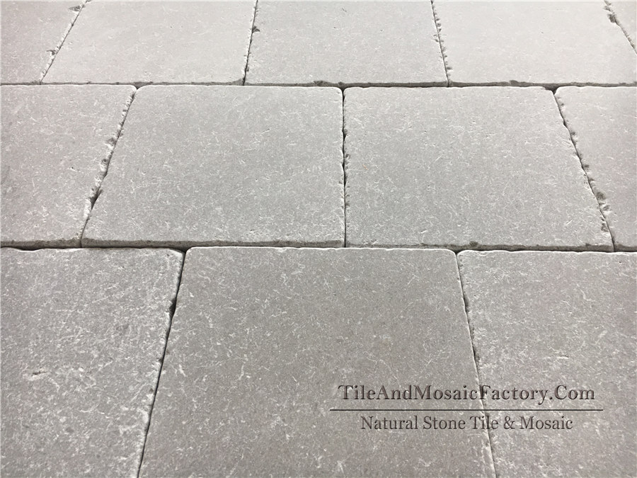 Starlight 249x249mm Tumbled Antique Grey Limestone Tile