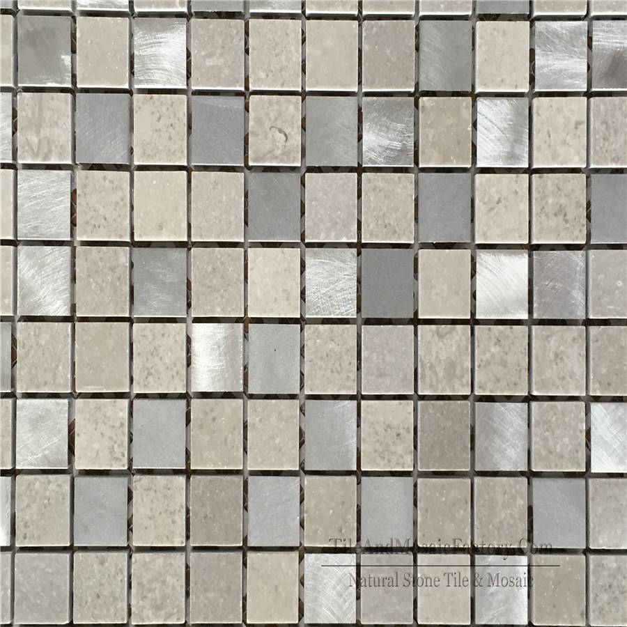 "Starlight & Stainless Steel Square 1x1"" polished Grey color Limestone Mosaic"