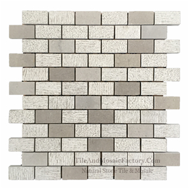 "Starlight  Brick 1x2"" Multi Finish Grey Limestone Mosaic"