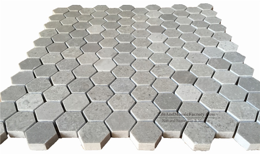 Starlight Hexagon 1″ Polished Grey Limestone Mosaic