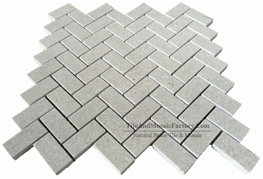 Starlight Herringbone 1x2″ Polished Grey Limestone Mosaic