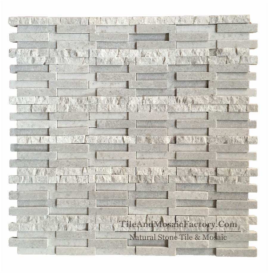 Starlight 5x1cm Honed and Natural Split Grey Limestone Mosaic