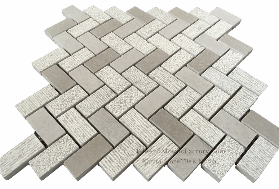 Starlight Herringbone 1x2″ Multi Finish Grey Limestone Mosaic