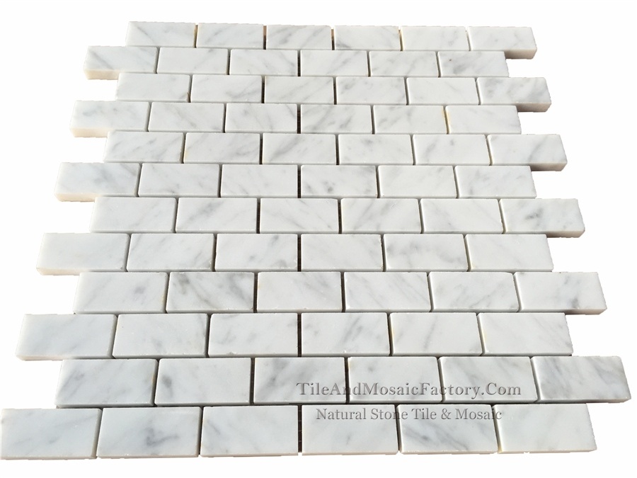 Bianco Carrara C Brick 1x2″ Polished White Marble Mosaic
