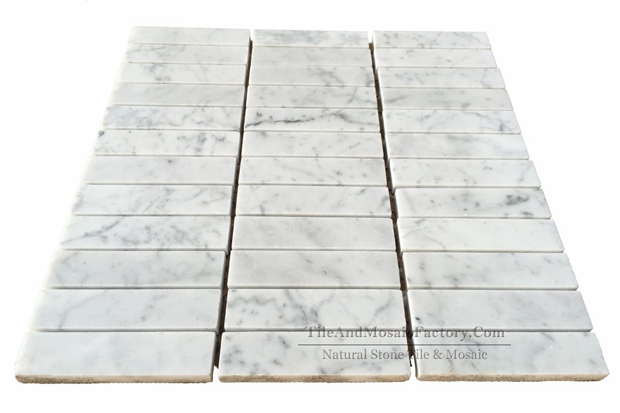 Bianco Carrara Soldier Pattern 1x4″ Polished White Marble Mosaic