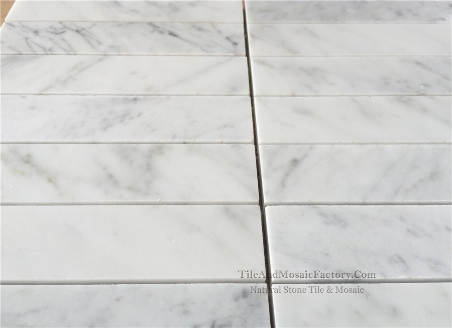 Bianco Carrara Soldier Pattern 1.5x6″ Polished White Marble Mosaic
