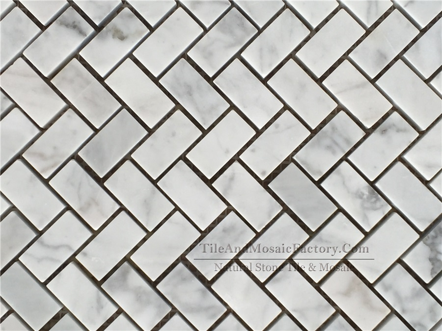 Bianco Carrara Herringbone 5/8x1″ Polished White Marble Mosaic