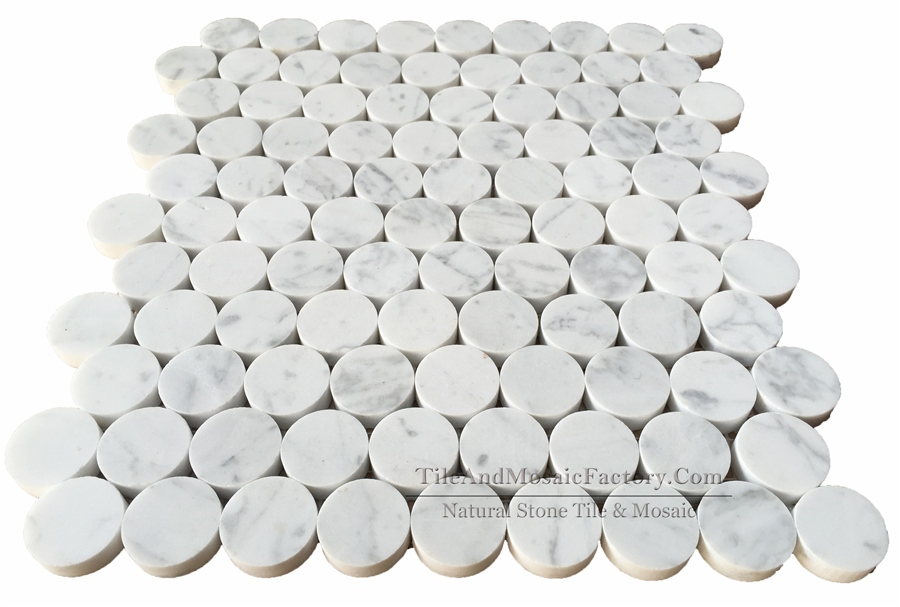Bianco Carrara Round 2.5cm Polished White Marble Mosaic