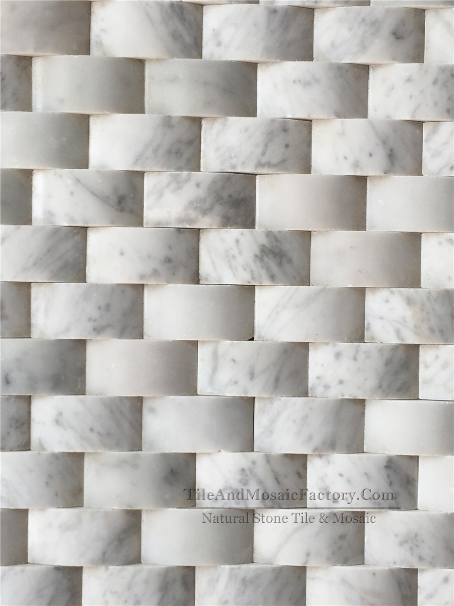 Bianco Carrara  Brick 1x2″ Pillowed polished White color Marble Mosaic