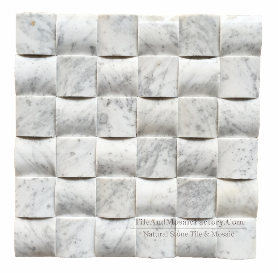 Bianco Carrara Square 2x2″ Pillowed Polished White Marble Mosaic