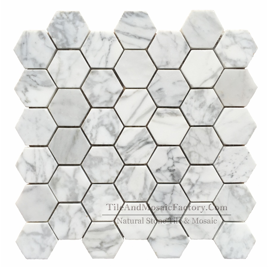 Bianco Carrara Hexagon 2″ Polished White Marble Mosaic