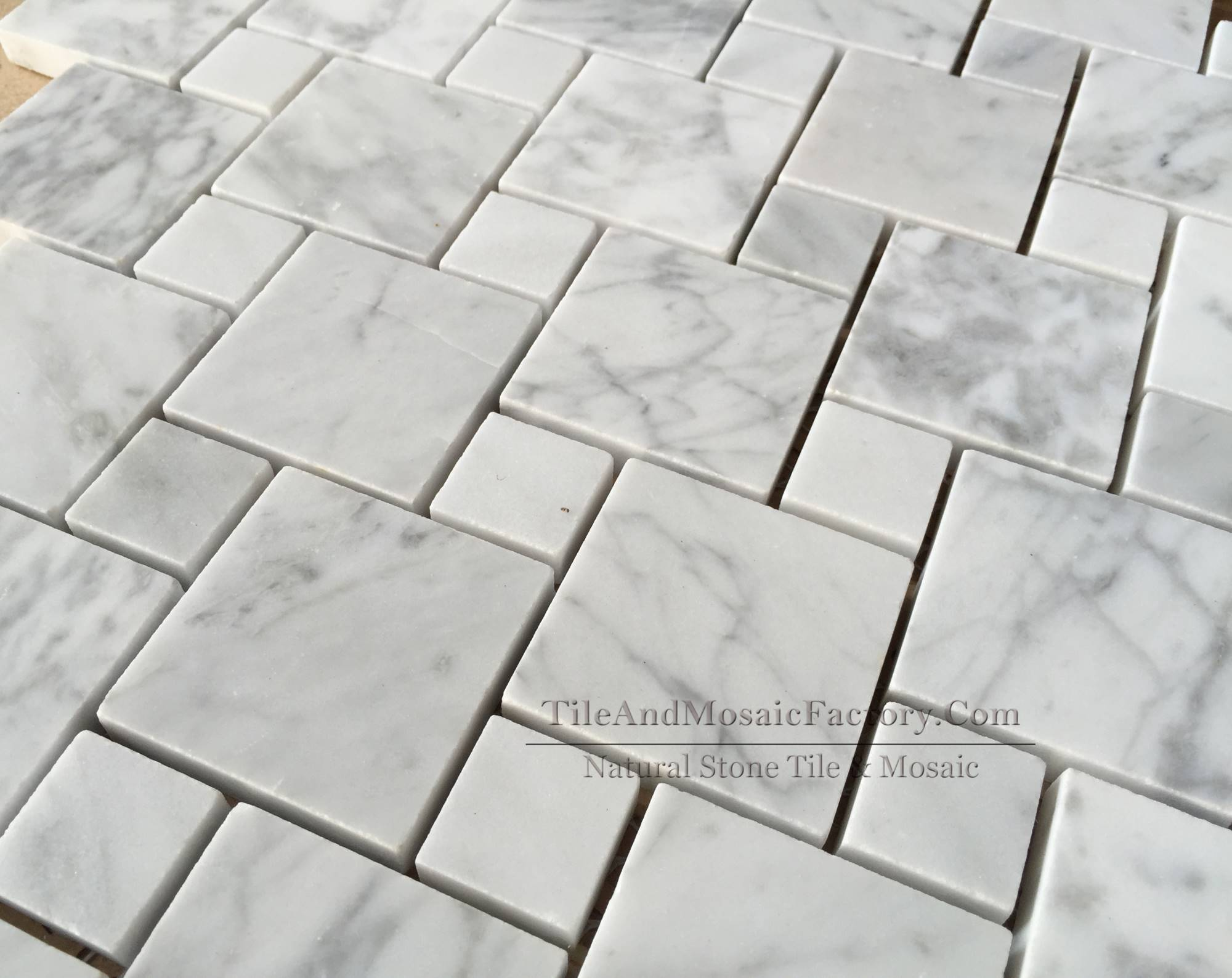 Bianco Carrara Diamond Polished White Marble Mosaic