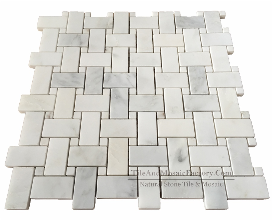 Asian White  Basketweave  polished White color Marble Mosaic