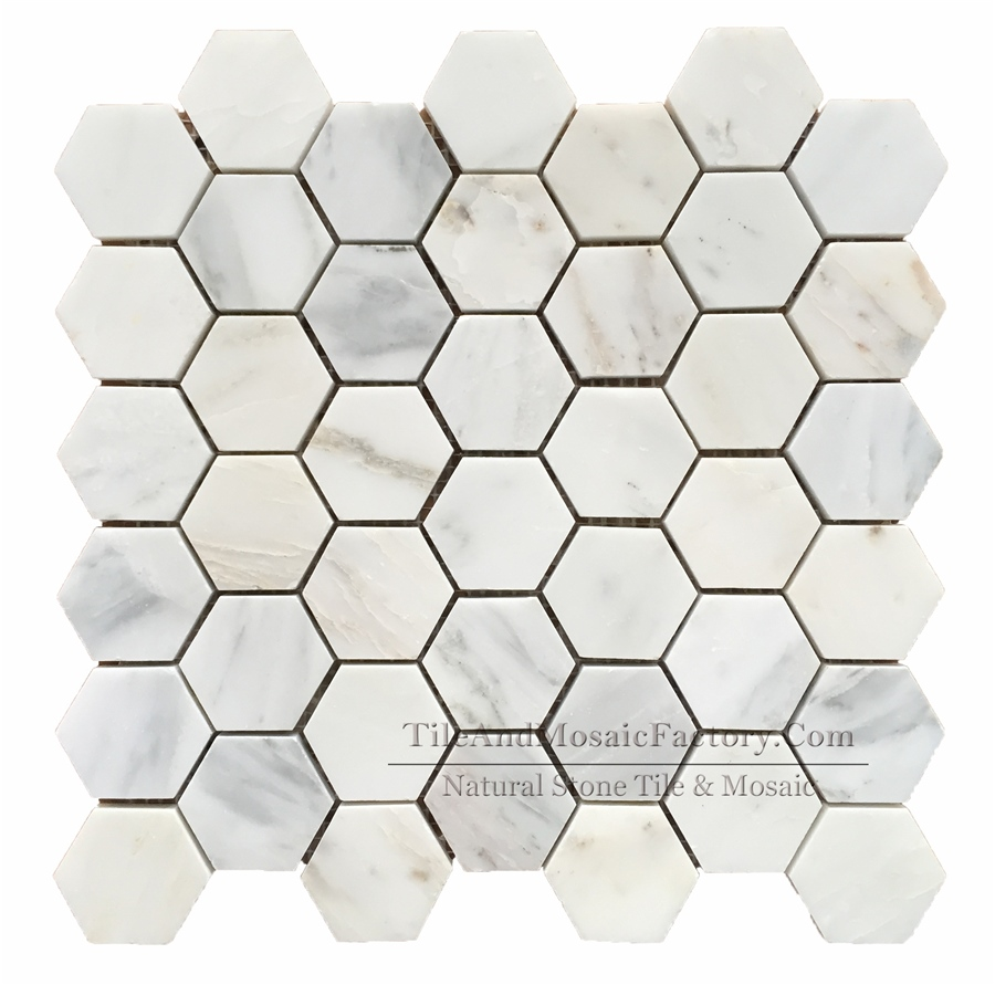 Asian White Hexagon 2″ Polished Marble Mosaic