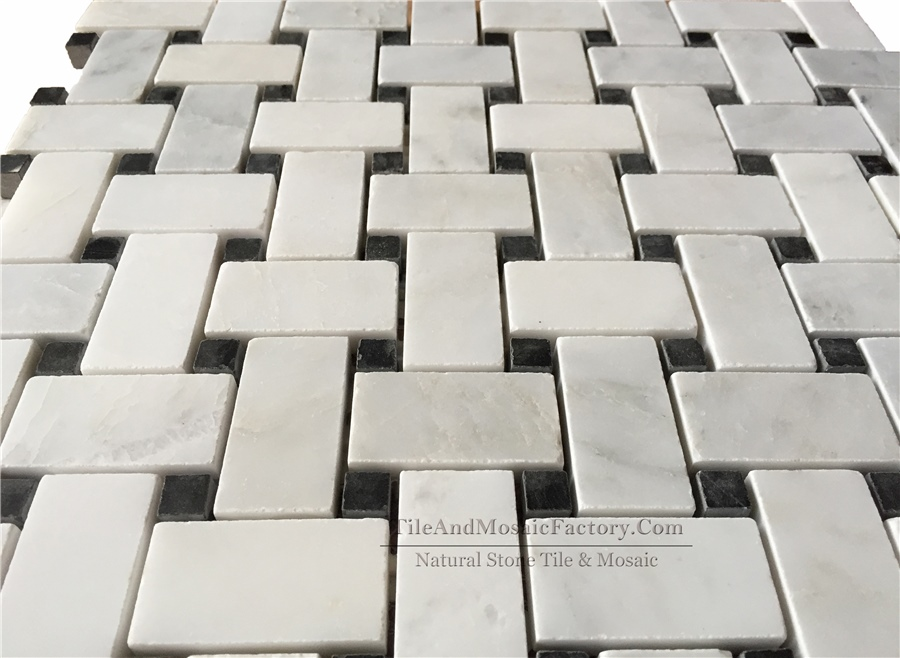 Asian White Basketweave w/ Black dots polished White color Marble Mosaic
